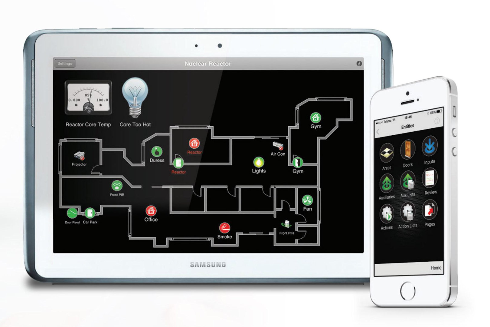 integriti access control software displayed on tablet and phone screen