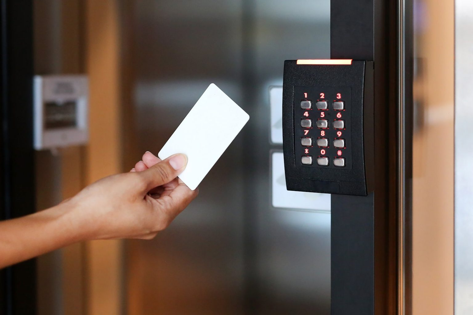 swiping access control keypad with inbuilt reader
