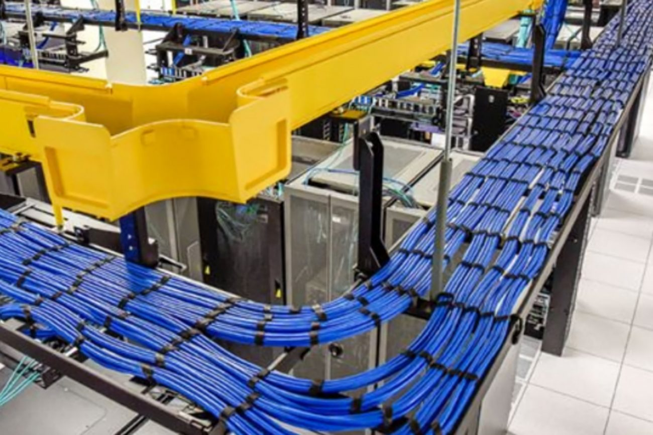 blue category 6 data cables installed on cable tray
