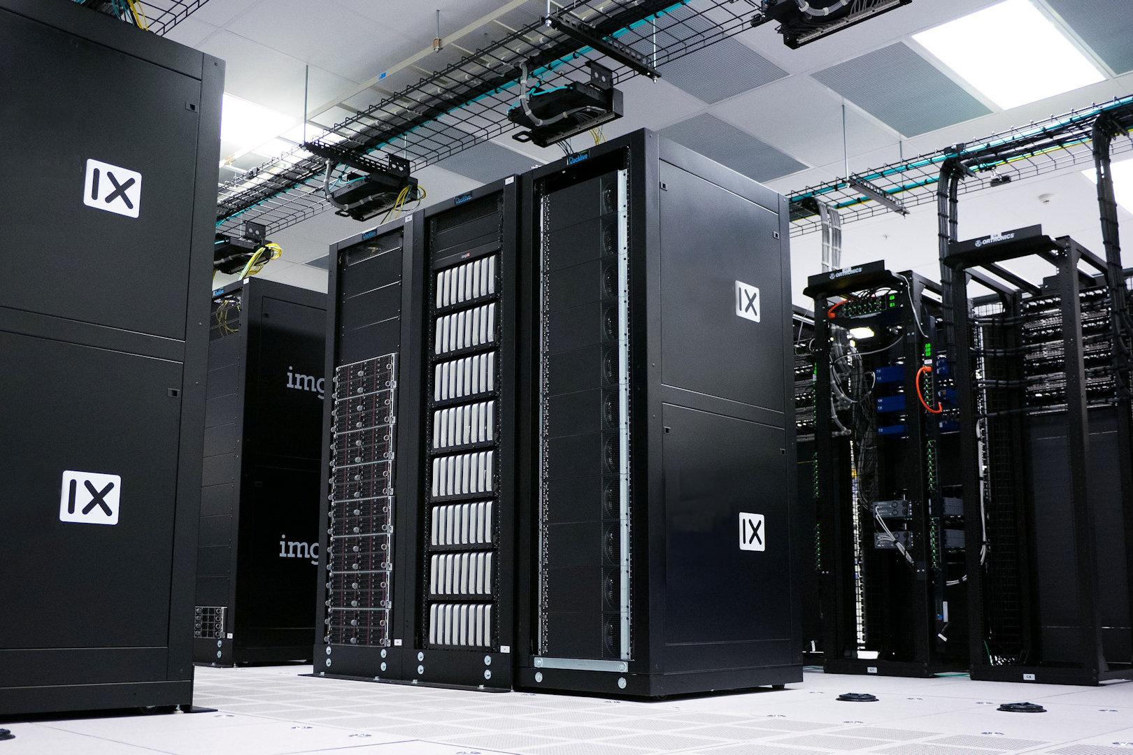 black data communications racks within data centre
