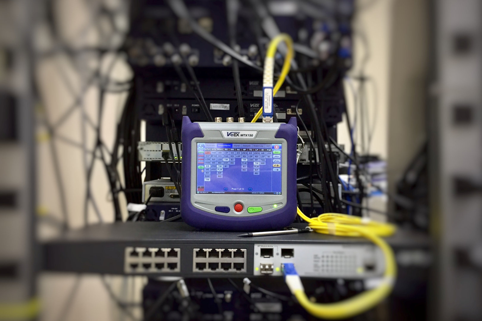 data analysis and testing within communications room network switch