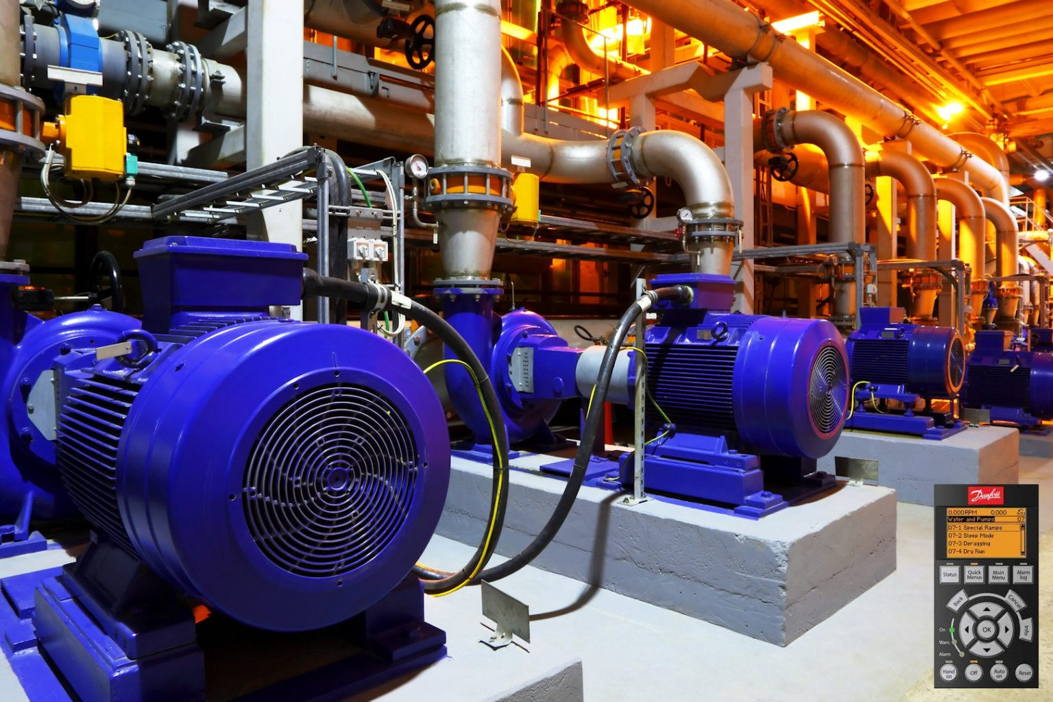 microngroup blue hvac pumps in plant room controlled by variable speed frequency drives