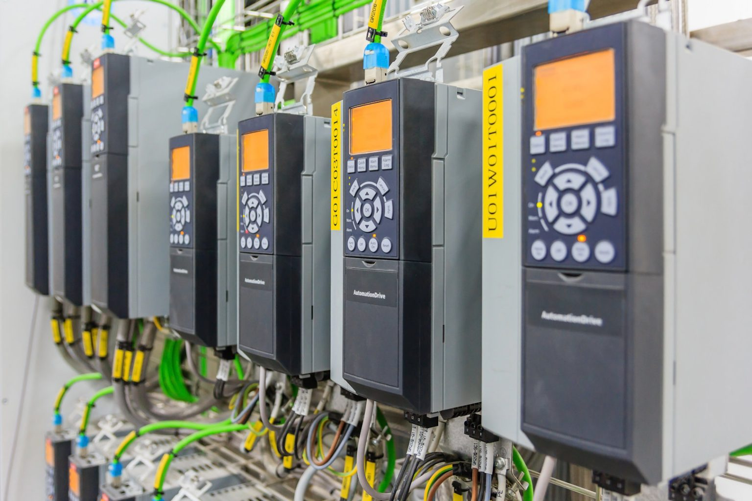 variable speed drives installed on wall with shielded electrical cable
