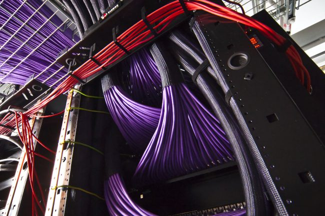 siemon network cat 6A data cables connected to rack patch panel
