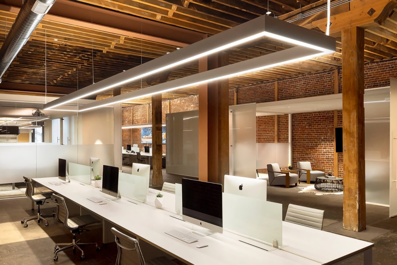 led lighting above office desk installed by micron group