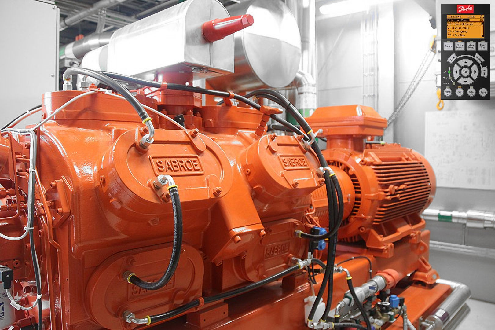 orange plant room motor controlled by a danfoss variable speed drive